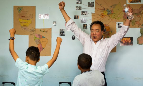 Yo-Yo Ma visits CreArte, an after school program, and plays for the children in San Juan, P.R., on March 21, 2019. (Photo by Erika P. Rodriguez)